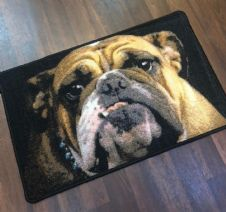 NEW BULLDOG DOG DESIGN NON SLIP DOORMAT 50X80CM BLACK BEIGE GREAT QUALITY